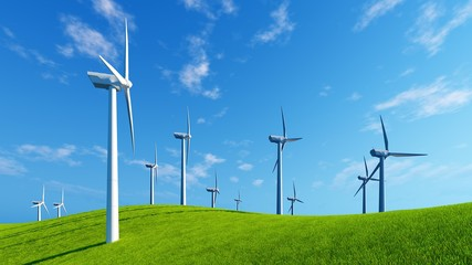 Windmills on a green hills against blue cloudy sky background at sunny day. Realistic 3D illustration.