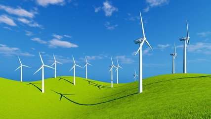 Wind turbines on the green hills under blue sky at sunny spring day. Realistic 3D illustration.