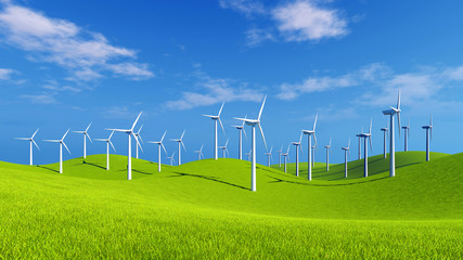 Green hills with a group of eco-friendly energy-producing wind turbines at sunny day. Realistic 3D illustration.