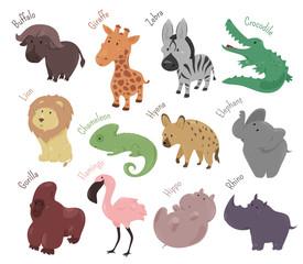 Set of cute cartoon animals. Funny savannah