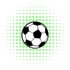 Football ball icon, comics style