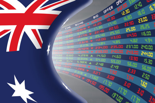National flag of Australia with a large display of daily stock market price and quotations during normal economic period. The fate and mystery of Australian stock market, tunnel/corridor concept.