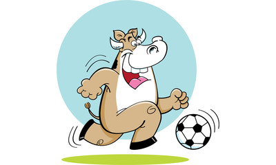 Cartoon illustration of a cow playing soccer