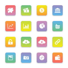gradient colored flat finance and technology icon set on rounded rectangle for web design, user interface (UI), infographic and mobile application (apps)