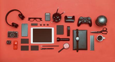 Black items on red. Social media hero header