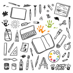 Artist tools sketch hand drawn vector set