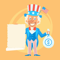 Uncle Sam Holds Scroll Paper and Money