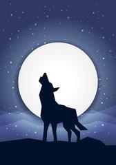 Wolf vor dem Mond Konzept