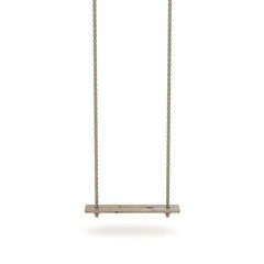 Swing made of rope and a wooden plank. 3D render illustration isolated on white background