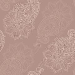 Henna Mehndi   Doodles Seamless Pattern- Paisley Flowers Illustr