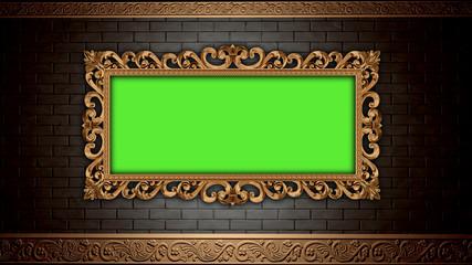 Golden vintage frame on brick wall.  Design retro element. Green screen