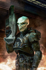 Wall Mural - Alien soldier with armor