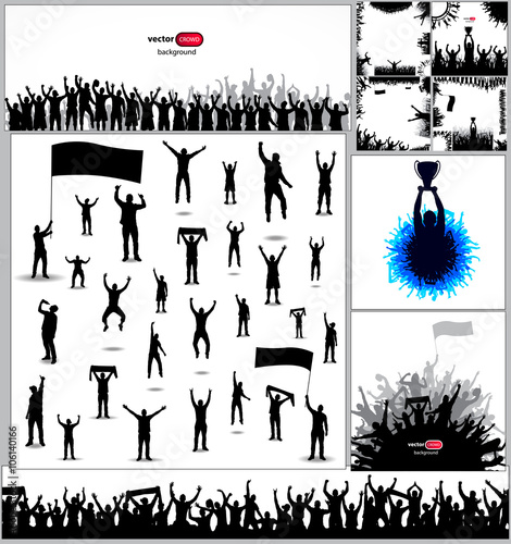 large collection of sports posters and big set of silhouettes of
