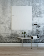 Blank chart or frame in studio with table