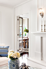 beautiful white flower in vase kept on table of luxury house