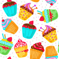 Seamless pattern with cupcakes. Hand drawn vector illustration.