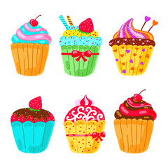 Cupcake set. Hand drawn vector illustration on white background.