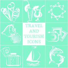 Нежные туристические иконки