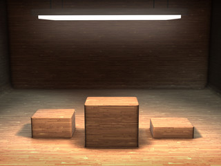 Modern box set in an empty room made of wood with a light from above