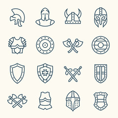 Ancient armor line icons