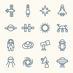 Space line icons
