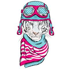 Vetkor tiger wearing a helmet. Tiger in a scarf. Hipster. Pilot.