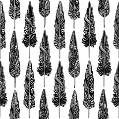 Seamless Pattern With Aztec Feathers