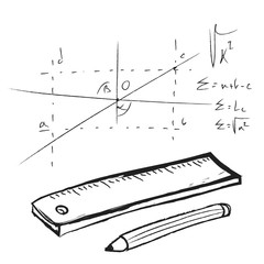 doodle plastic ruler and pencil
