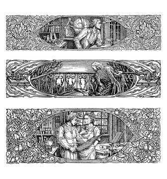 Three assorted art-nouveau border decoration, people printing papers,scientists experimenting