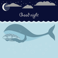 Ocean sleeping whales, moon, stars. Good night card.