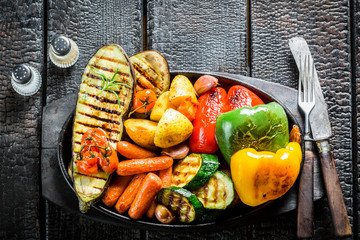 Grilled healthy vegetables on barbecue dish