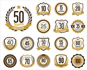 Set of Golden Anniversary Badges. Set of Golden Anniversary Signs. Gold.