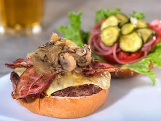 Bacon, mushroom, and Swiss cheese burger