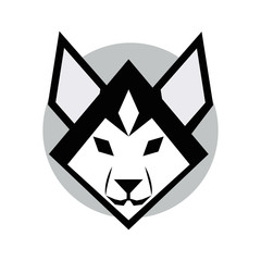 Mascot siberian husky dog head on white background, vector illustration