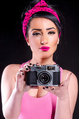 Pin-up Girl With Old Camera