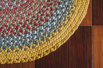 Colorful rug from braids