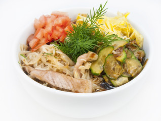 vegetable salad and fish on a white background