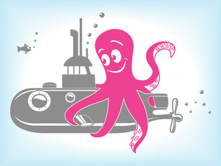 Cartoon octopus and submarine vector illustration
