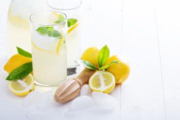 Fresh homemade lemonade in tall glasses