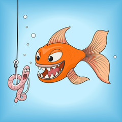 Fish hunts worm vector illustration