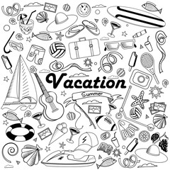 Vacation line art design vector illustration