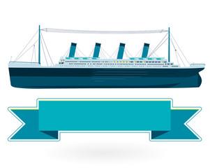Legendary colossal boat, monumental big ship symbol. Big blue boat, icon flatten isolated illustration master vector.