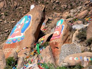 Tibet - Tibetische Malereien auf Manisteinen