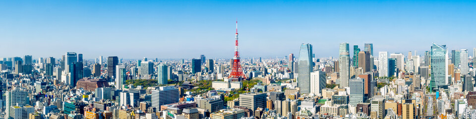 Photo on textile frame Tokyo Tokyo skyline Panorama mit Tokyo tower und Roppongi