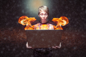 Burning Computer In Outer Space