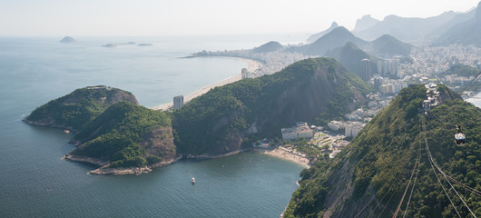 Copacobana and Urca districts view from Sugarloaf mountain view point, Rio de Janeiro, Brazil.