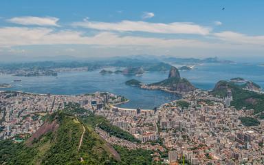 Rio de Janeiro panoramic view from Corcovado mountain, Brazil.