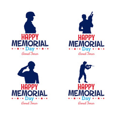 Set of different soldier silhouettes and text for memorial day celebrations