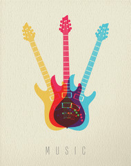 Music concept icon electric guitar color design