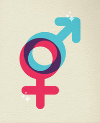 Human gender symbol colorful of male female